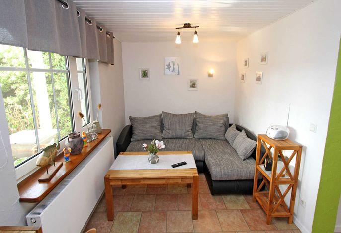 Wohnzimmer mit TV, Polstermöbel und Kamin