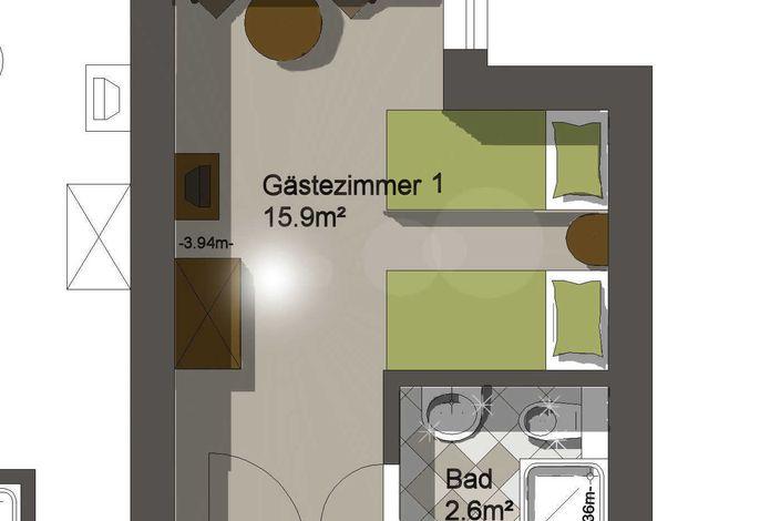 Grundriss Zweibettzimmer
