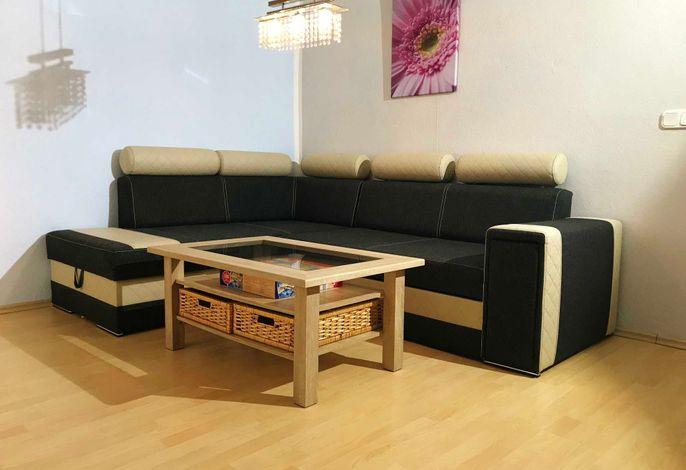 Wohnzimmer mit ausziehbarer Schlafcouch, TV und Kamin
