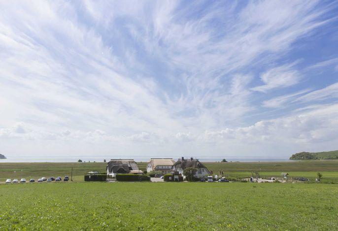 Reetdach-Ferienhaus mit Terrasse