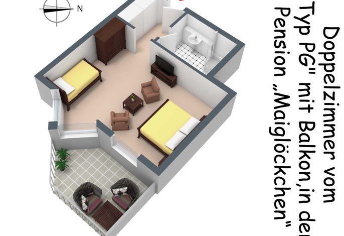 Der Grundriss des Doppelzimmers vom Typ PG mit Balkon/Terrasse in der Pension Maiglöckchen, in 3D.