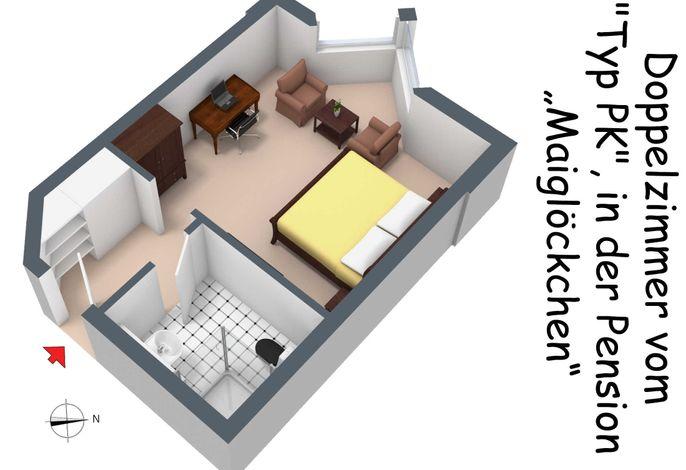 Der Grundriss des Doppelzimmers vom Typ PK in der Pension Maiglöckchen, in 3D.
