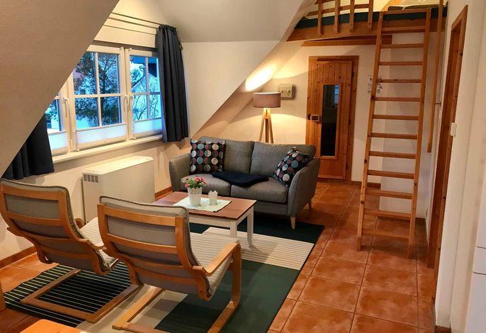 Wohnzimmer mit offenem Schlafbereich