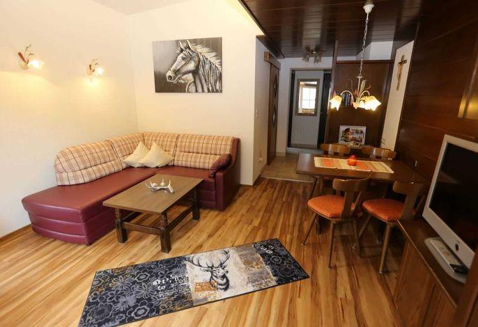 Offerer Wohraum mit Schlafsofa und Küche, 2 Balkonen (1x davon Südbalkon)