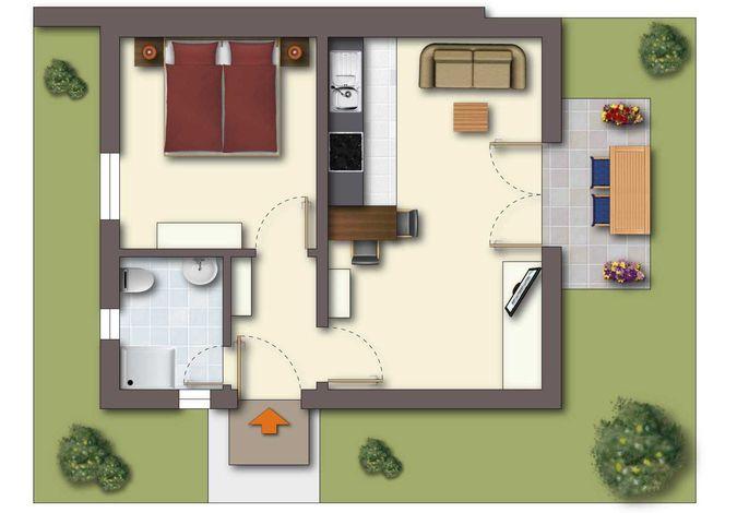 Grundriss 2-Raum-Appartement im Erdgeschoss