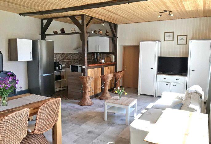 Blick in den Wohnraum mit offener Küche