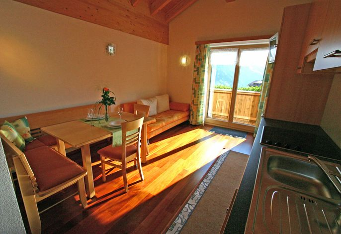 Wohnküche mit Balkon, sowie TV