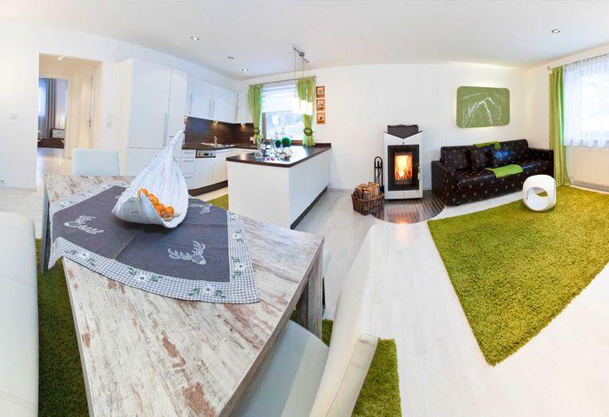 Blick in den Wohn-, Koch- und Essbereich