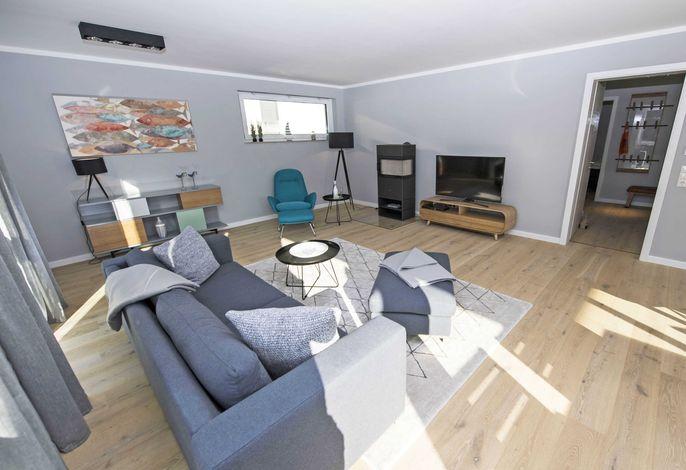 Der Wohnbereich vom Penthouse 54° Nord im Haus Königsstuhl