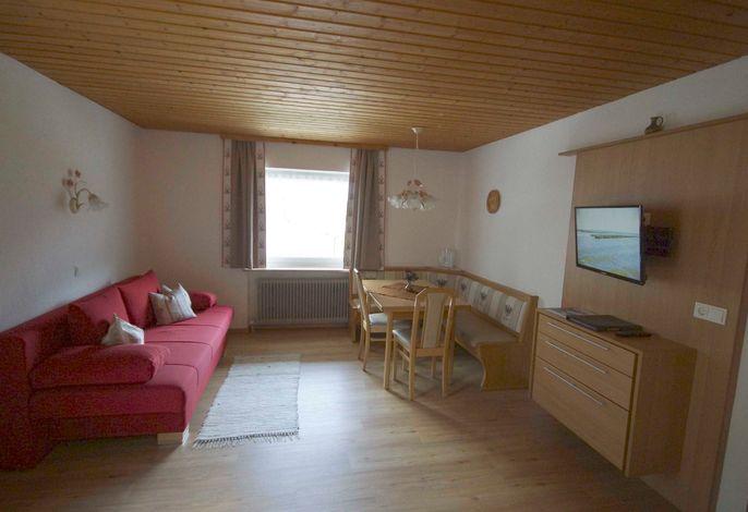 App. ROFAN für 2-7 Personen: Wohnraum mit Küche, Flat-SAT-TV, Schlafgelegenheit für die 5. + 6. Person auf dem ausziehbaren Schlafsofa, Balkon zur Ostseite