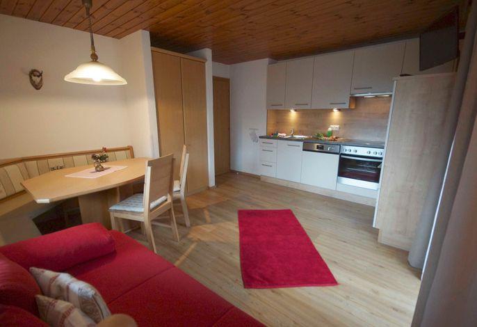 App. SEEKAR für 2-6 Personen: Wohnraum mit Küche, Flat-SAT-TV, Schlafgelegenheit für die 5. + 6. Person auf dem ausziehbaren Schlafsofa, Balkon zur Süd-/Ostseite