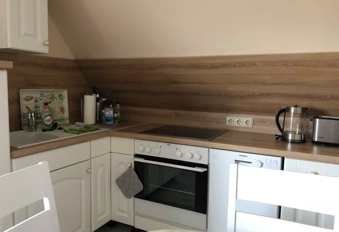 Einbauküche mit Ceranfeld, Backofen, Spülmaschine, Kühlschrank mit Gefrierfach