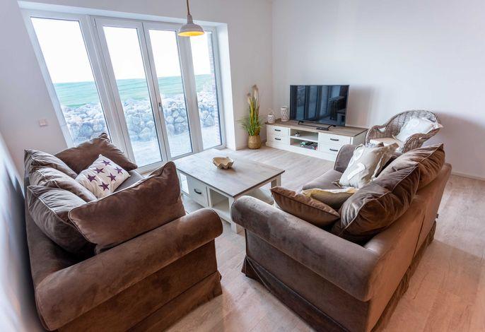 Ferienwohnung Wellenbrecher mit Meerblick - Wohnzimmer
