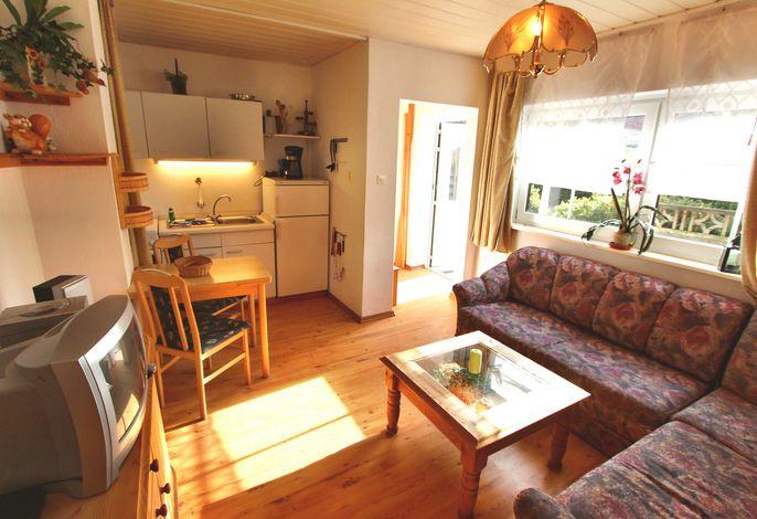 Wohn- & Essbereich mit TV & offener Küche