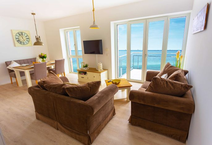 Ferienwohnung Waterkant mit Meerblick - Wohnzimmer