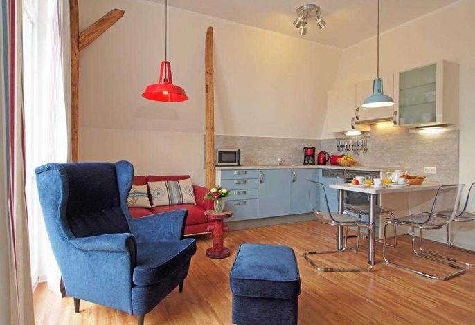 Muschel Whg. Krabbe - Blick auf den Wohnbereich und die offene Küche