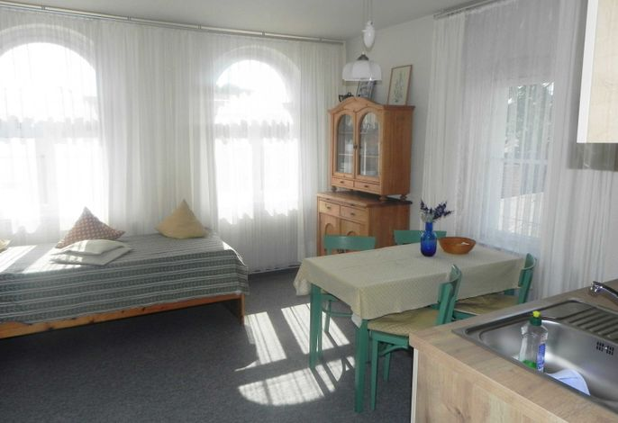 Küchenzeile und Essplatz sowie Einzelbett
