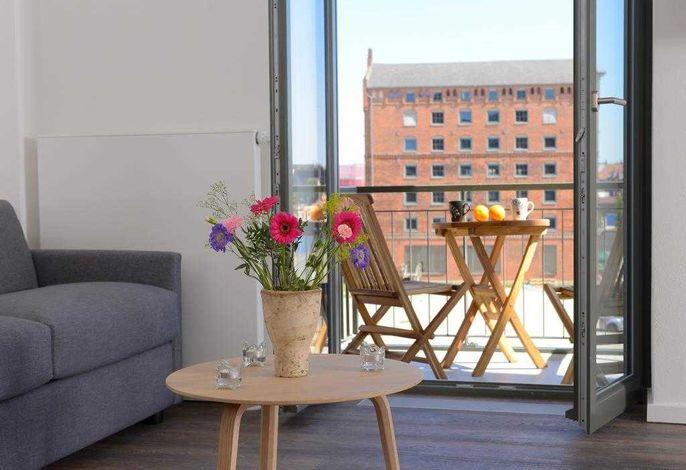 Ohlerich Speicher App.10 - Blick auf den Wohnbereich und den Balkon