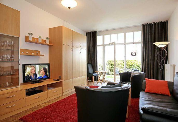Wohnbereich mit Sofa, Schrankbett, Flachbild-TV und Terrasse