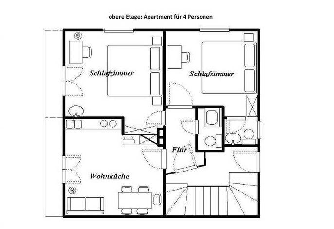 Plan der Ferienwohnung für 4 Paersonen