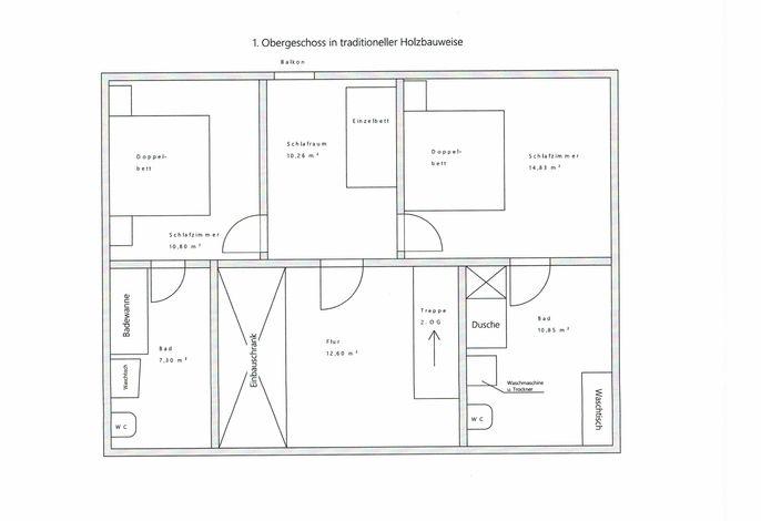 Plan  1. Obergeschoss,   jedes Doppelbettschlafzimmer hat ein eigenes Bad