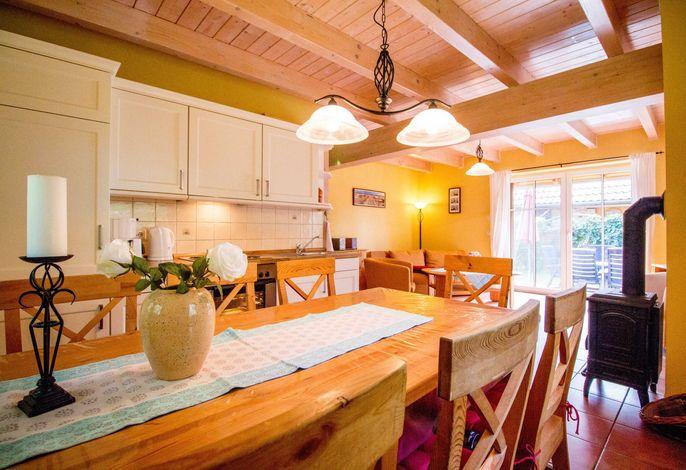 Offene Wohnküche mit Kamin und Terrasse