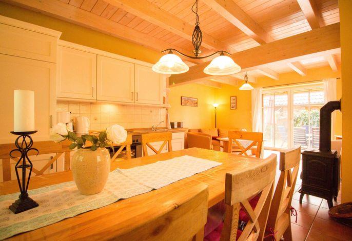 Wohnküche mit Kamin und Terrassenzugang