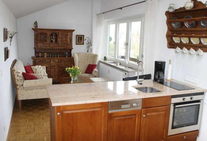 Wohnzimmer mit Küchenzeile und großer Glasfront